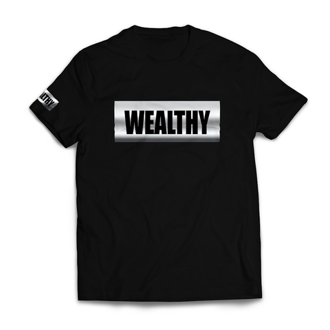Wealthy Tee (Black/Metallic Silver)