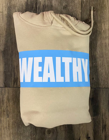 Wealthy Hoodie (Tan/Baby Blue/White)