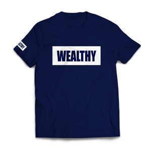 Wealthy Tee (Navy/White)