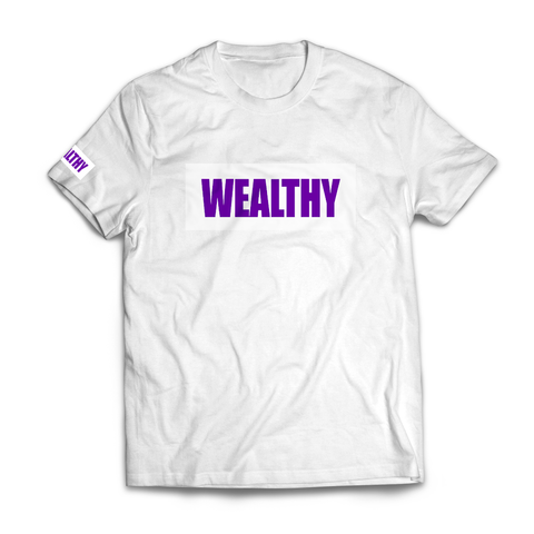 Wealthy Tee (White/White/Purple)