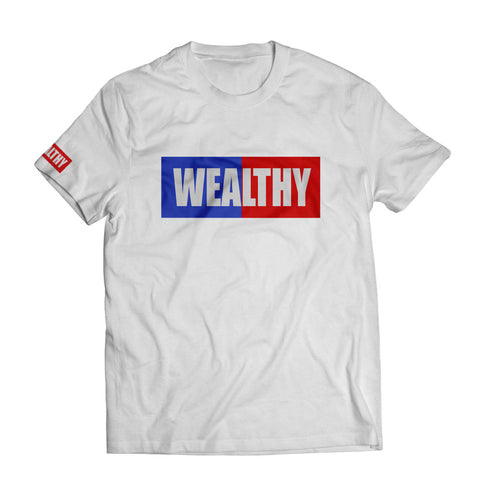 Wealthy Tee (White/Royal/Red/White)