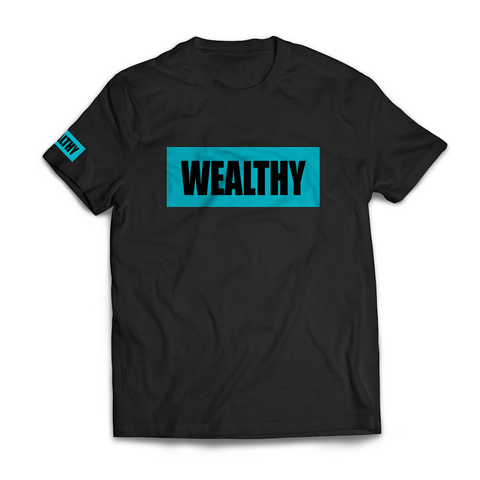 Wealthy Tee (Black/Teal)