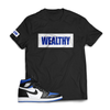 Wealthy Tee (Black/White/Blue)