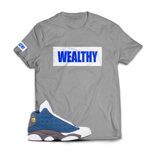 Wealthy Tee (Grey/White/Blue)