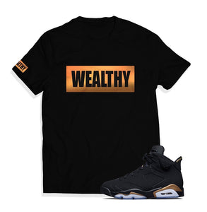 Wealthy Tee (Black/Metallic Gold)