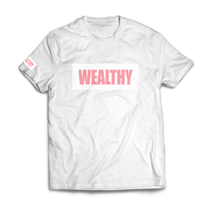 Wealthy Tee (White/White/Pink)
