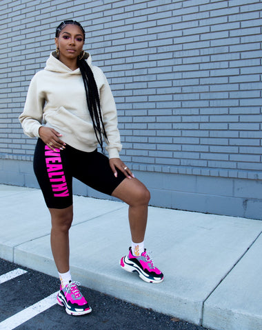 Wealthy Women's Biker Shorts (Black/Neon Pink)