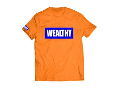 Wealthy Tee (Orange/Blue/White)