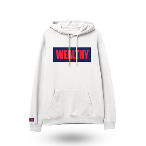 Wealthy Hoodie (White/Navy/Red)