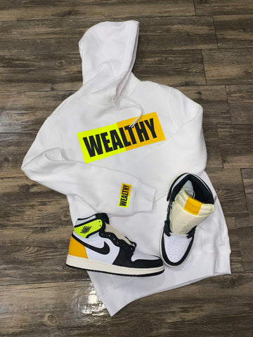 Wealthy Hoodie (White/Neon Yellow/Yellow/Black)