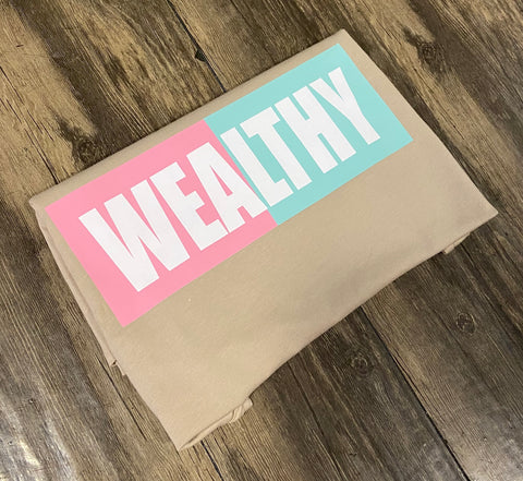Wealthy Tee (Tan/Light Pink/Seafoam Green/White)