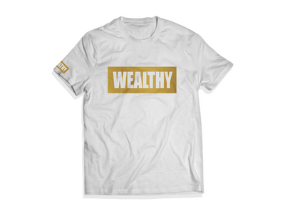 Wealthy Tee (White/Metallic Gold)