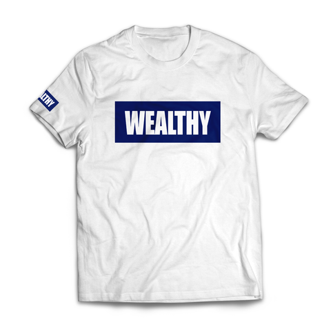 Wealthy Tee (White/Navy)