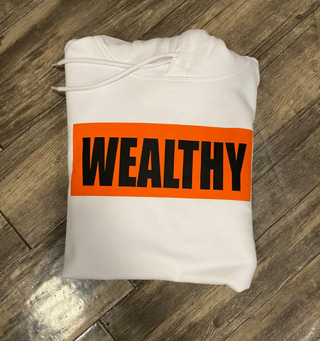 Wealthy Hoodie (White/Orange/Black)