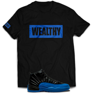 Wealthy Tee (Black/Royal)