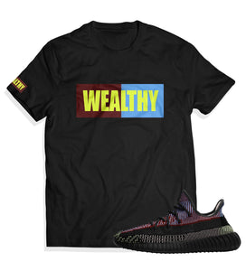 Wealthy Tee (Maroon/Baby Blue/Neon Yellow)