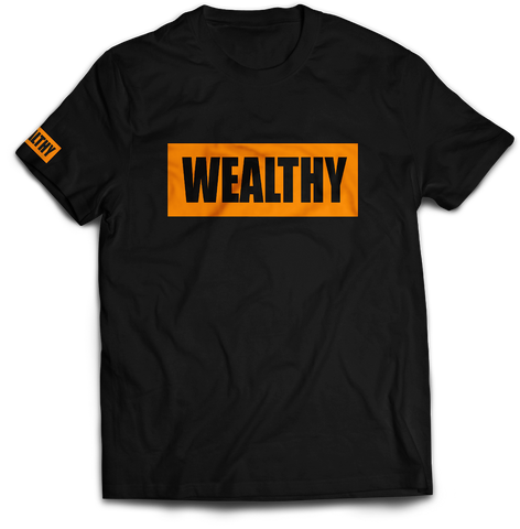 Wealthy Tee (Black/Orange)