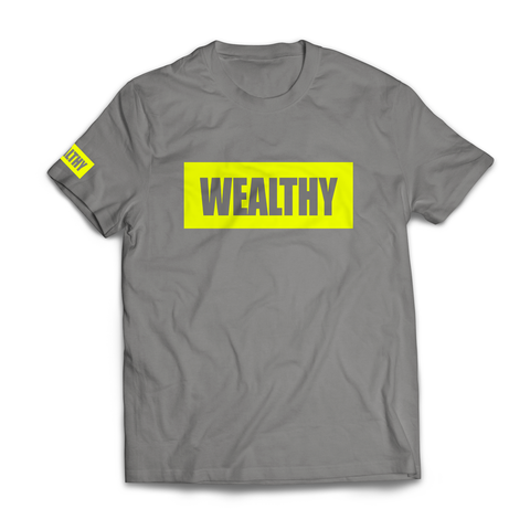 Wealthy Tee (Grey/Neon Yellow)