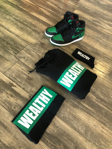 Image of Wealthy Hoodie (Black/Green/White)
