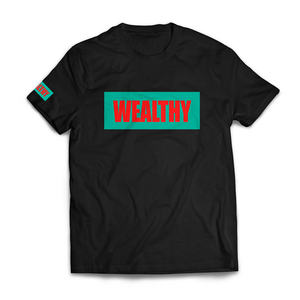 Wealthy Tee (Black/Teal/Red)