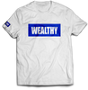 Wealthy Tee (White/Royal)