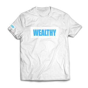 Wealthy Tee (White/White/Baby Blue)