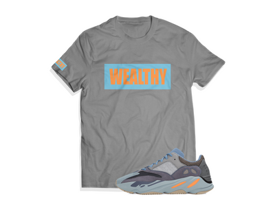 Wealthy Tee (Grey/Baby Blue/Peach)