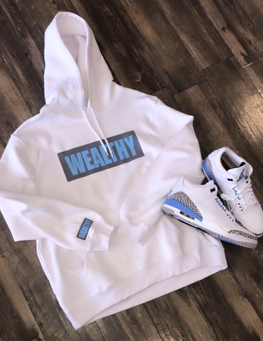 Image of Wealthy Hoodie (White/Grey/Baby Blue)