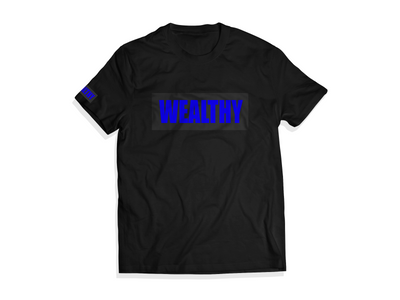 Wealthy Tee (Black/Black/Royal Blue)