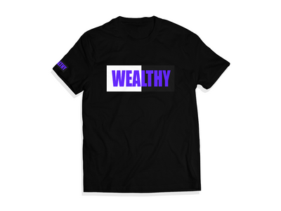 Wealthy Tee (Black/White/Black/Purple)