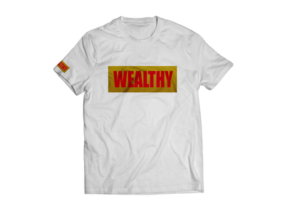 Wealthy Tee (White/Metallic Gold/Red)