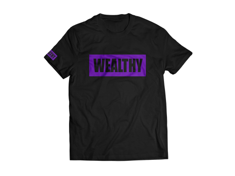 Wealthy Tee (Black/Purple)