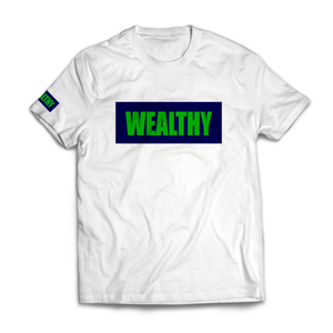 Wealthy Tee (White/Navy/Green)