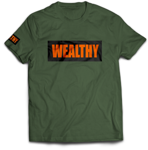 Wealthy Tee (Olive/Black/Orange)