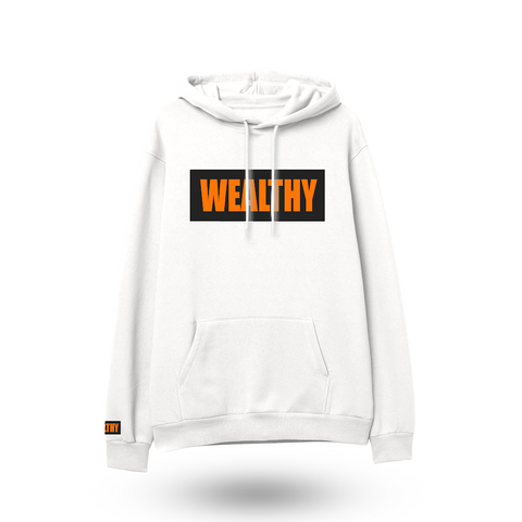 Wealthy Hoodie (White/Black/Orange)