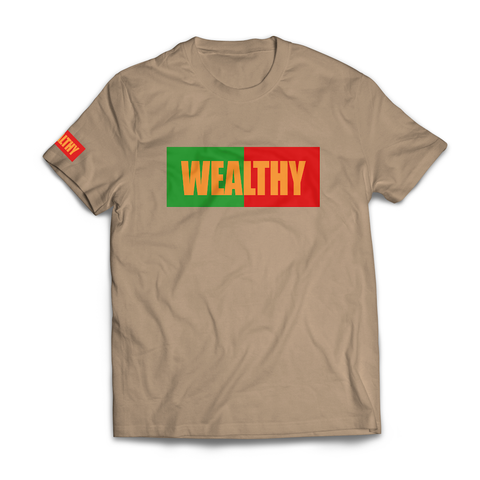 Wealthy Tee (Tan/Green/Red/Tan)