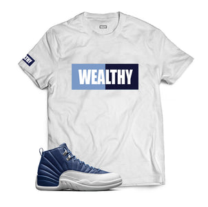 Wealthy Tee (White/Baby Blue/Navy/White)