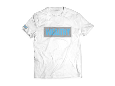 Wealthy Tee (White/Grey/Baby Blue)