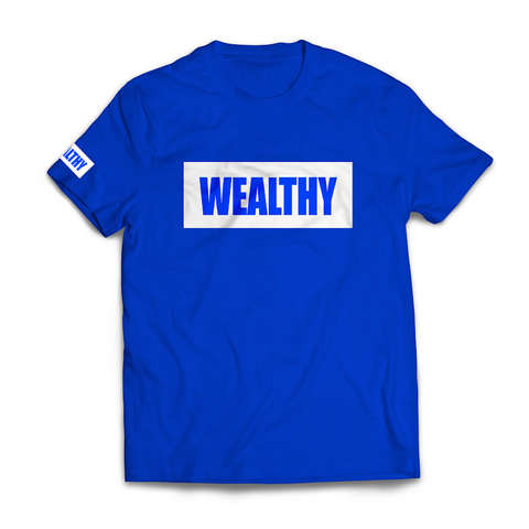 Wealthy Tee (Blue/White)