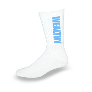 Wealthy Socks (White/Baby Blue)
