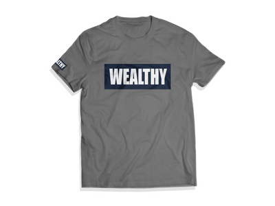 Wealthy Tee (White/Navy/Gray)