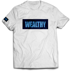 Wealthy Tee (White/Navy/Baby Blue)