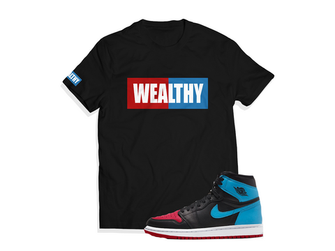 Wealthy Tee (Black/Red/Columbia/White)