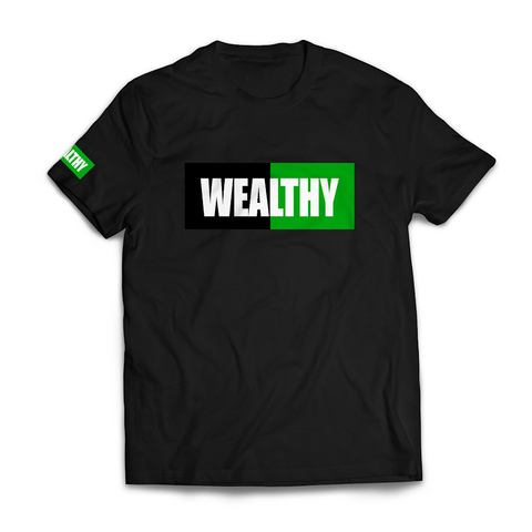 Wealthy Tee (Black/Black/Green/White)