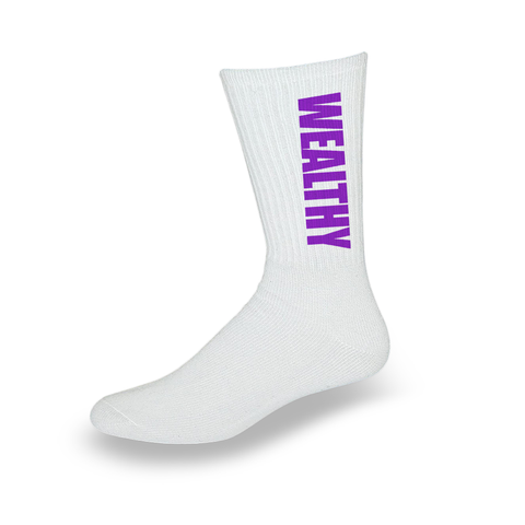 Wealthy Socks (White/Purple)