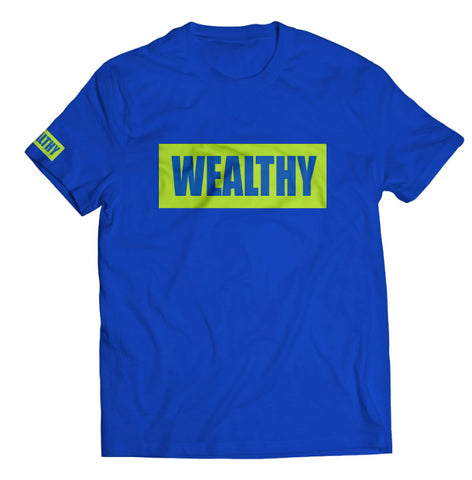 Wealthy Tee (Blue/Neon Yellow)