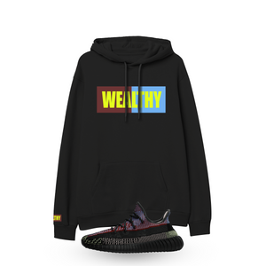 Wealthy Hoodie (Maroon/Baby Blue/Neon Yellow)