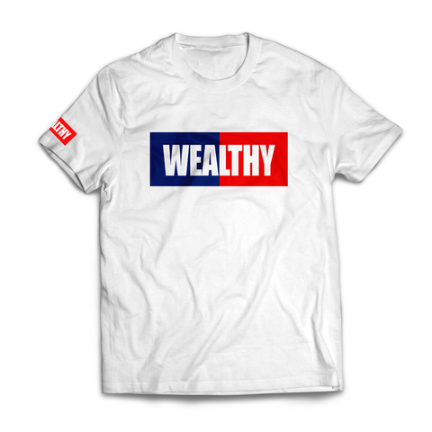 Wealthy Tee (White/Navy/Red)