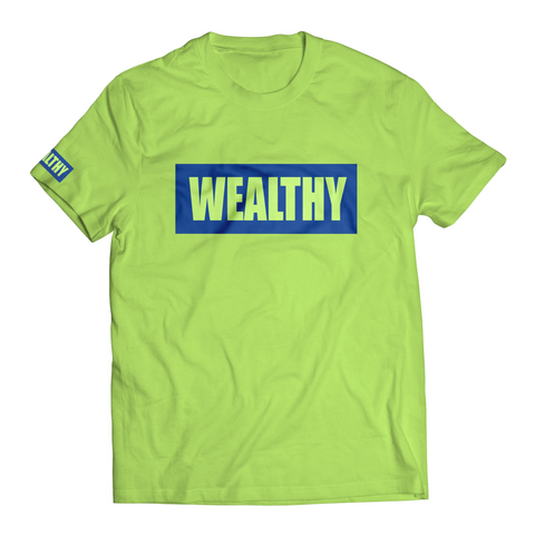 Wealthy Tee (Neon Yellow/Blue)