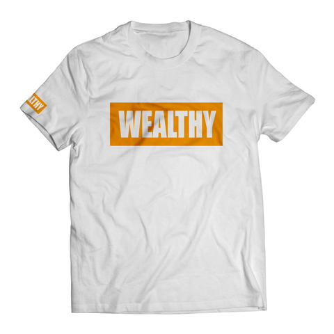 Wealthy Tee (White/Orange)